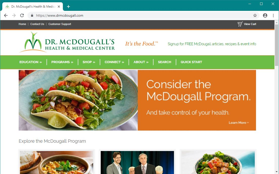 Dr. McDougall's Health and Medical Center (Website)